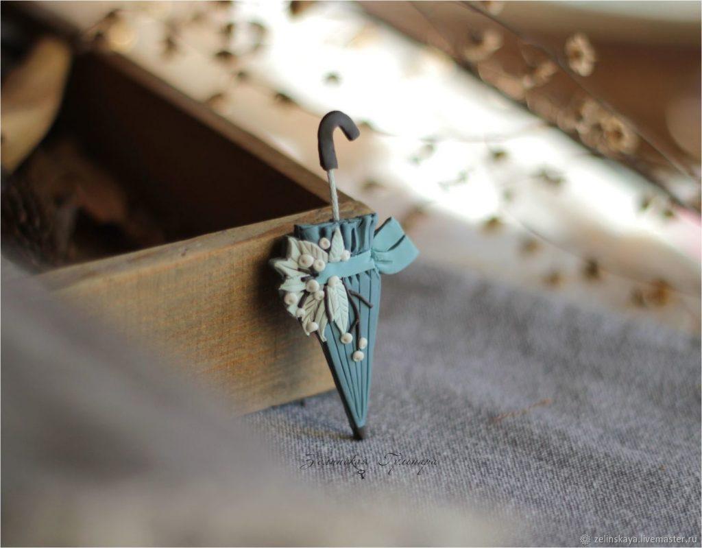 Polymer clay umbrella brooch - handmade brooch