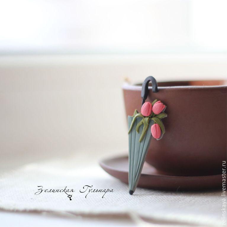 Polymer clay umbrella brooch - handmade brooch 2