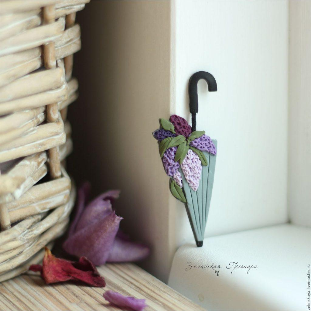 Polymer clay umbrella brooch - lilac brooch - handmade brooch 8