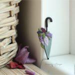 Polymer clay umbrella brooch - mauve brooch - handmade brooch 4
