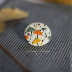Polymer clay umbrella brooch - olive brooch - handmade brooch 3