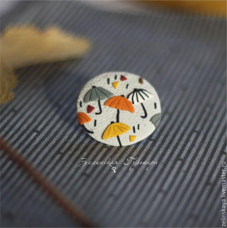 Polymer clay umbrella brooch - olive brooch - handmade brooch 7