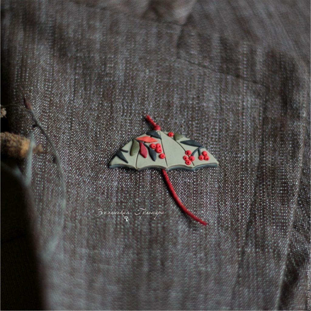 Polymer clay umbrella brooch - red brooch - handmade brooch
