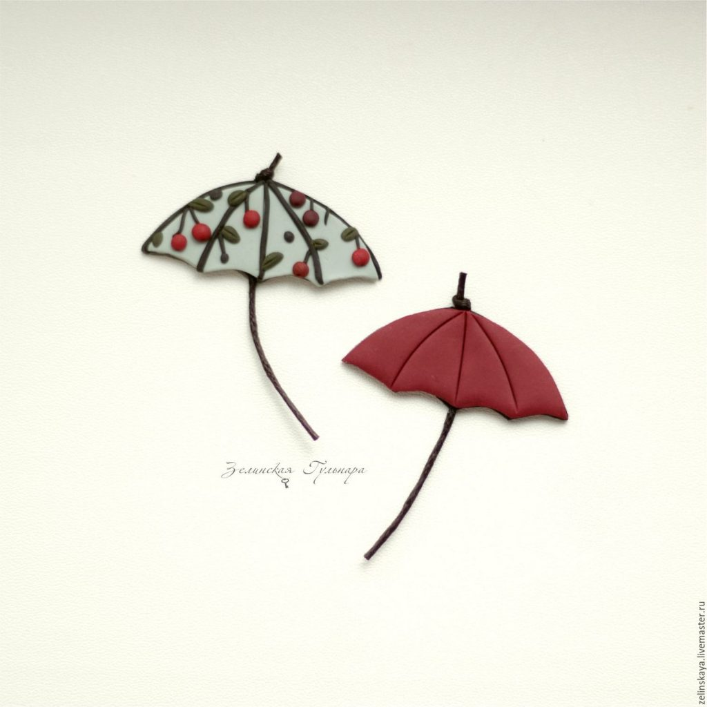 Polymer clay umbrella brooch - set of brooches - handmade brooch
