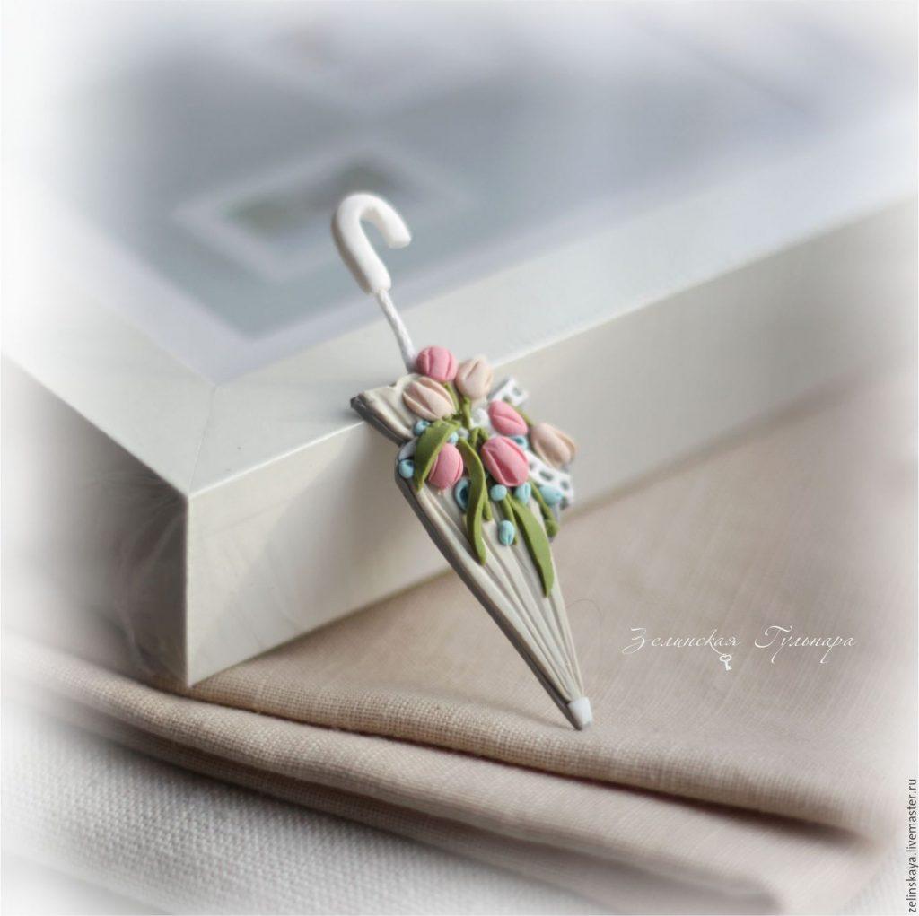 Polymer clay umbrella brooch - tulips brooch - handmade brooch