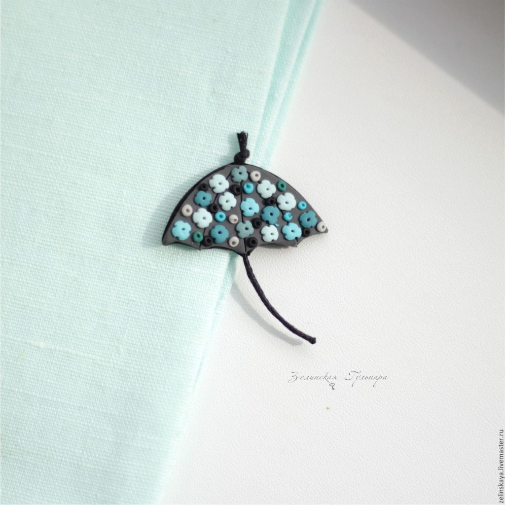Polymer clay umbrella brooch - turquoise umbrella with flowers brooch - handmade brooch