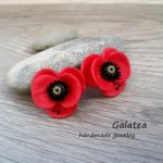 Poppy earrings polymer clay red flowers earrings Rustic dangle earrings statement floral jewelry romantic gift for woman red poppies jewelry