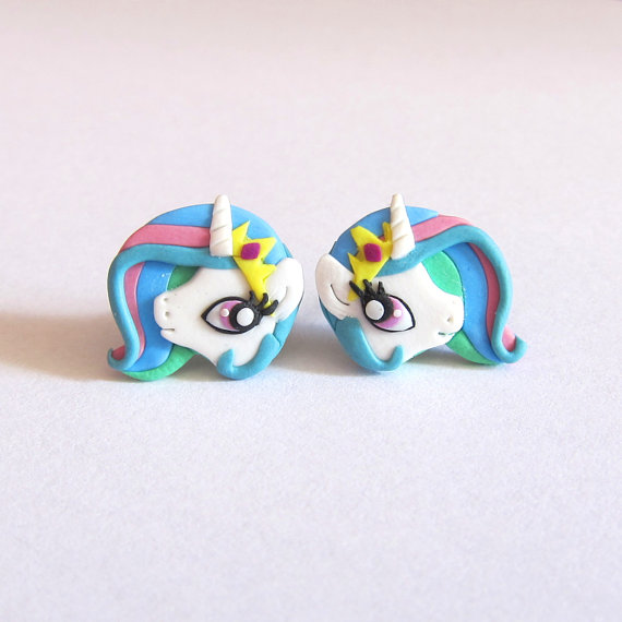 Polymer clay funny studs