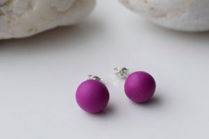 Polymer clay simple ball earrings