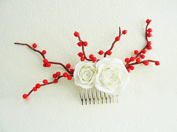 Polymer clay flower hair comb