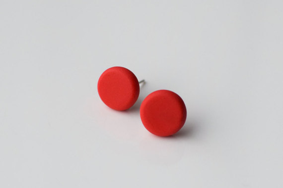 Polymer Clay Beaded Round Studs Earrings