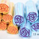 Light Blue and Purple flower Polymer Cane