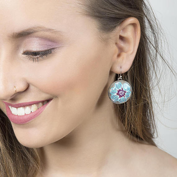 Round floral earrings, Turquoise earrings, Statement turquoise earrings, light blue earrings, statement chic earrings, gift for girlfriend