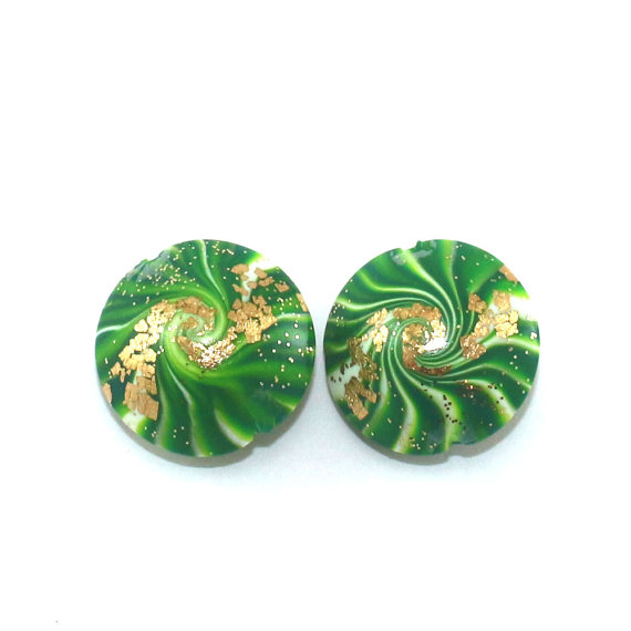 Set of 2 elegant focal beads for jewelry making with tiny gold dots, swirl beads, polymer clay lentil beads in greens, unique pattern