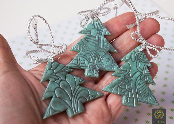 Polymer Clay Christmas Tree Decorations.Set Of Three Christmas Tree Ornaments Toys Mint Silver