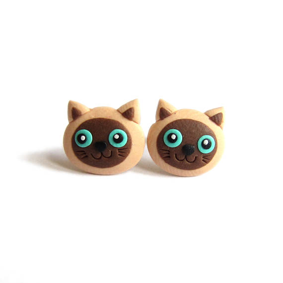 Siamese Cat Earrings, Funny Cat Earrings, Polymer Clay Earrings, Animal Earrings, Animal Jewelry, Cute Earrings Girls Earrings Stud Earrings