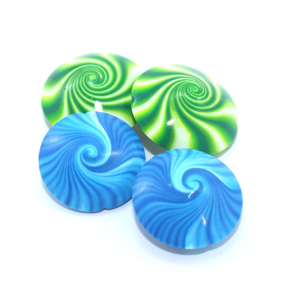 Swirl beads, Polymer Clay lentil beads in greens, blue and white, unique pattern, set of 4 elegant beads