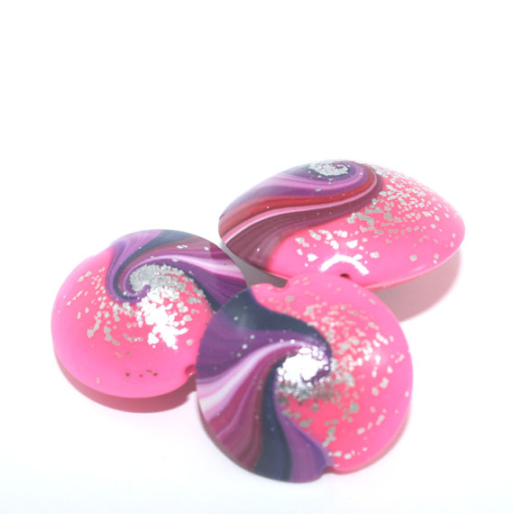 Swirl lentil beads in pinks and purple with touches of silver, Polymer Clay beads in unique pattern, set of 3 Elegant beads