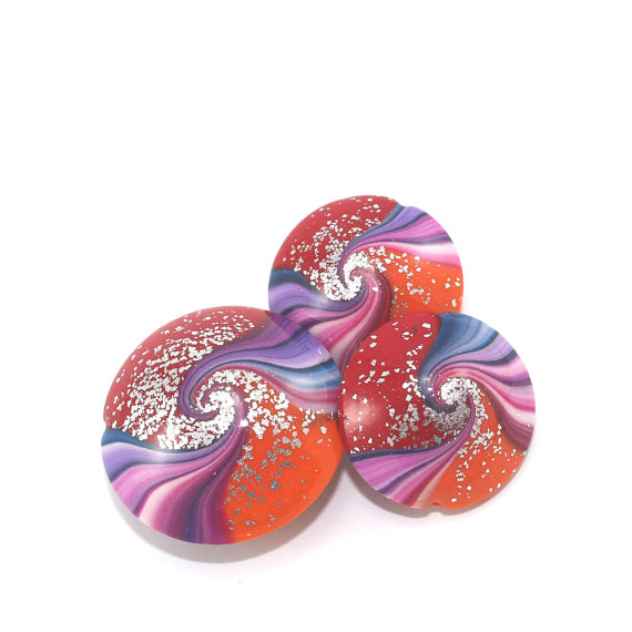 Swirl lentil beads in red, orange and Purples with tiny silver dots, Unique focal beads, set of 3 Polymer Clay beads