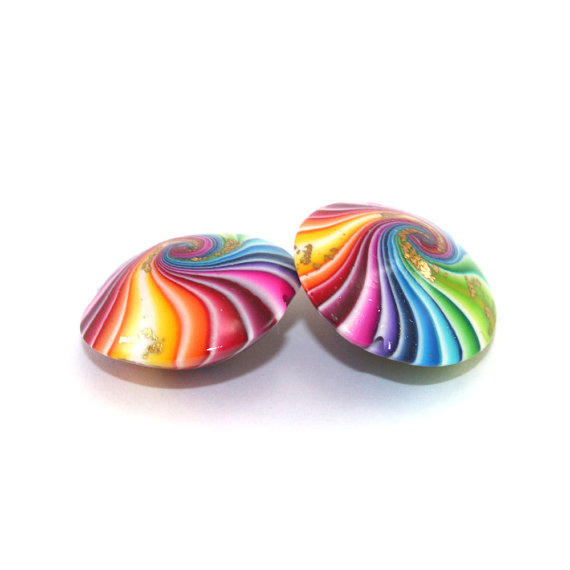 Swirl lentil beads with gold, Polymer Clay beads in rainbow colors, 2 colorful focal beads with tiny gold dots