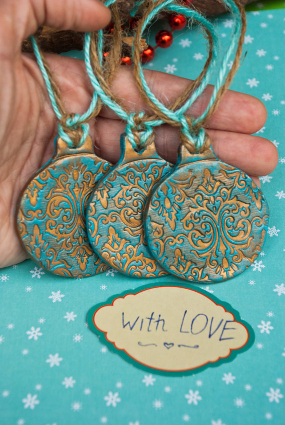 vintage christmas tree ornaments toys polymer clay decor turquoise gold christmas decoration christmas gift idea mom boho