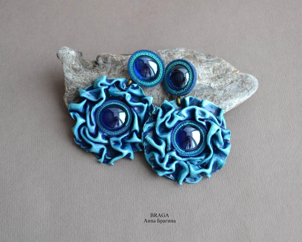 Blue polymer clay earrings