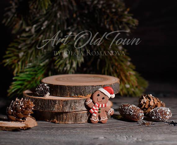 Family christmas set Christmas brooch gingerbread man holiday brooch polymer clay thing Christmas present, Christmas cookies