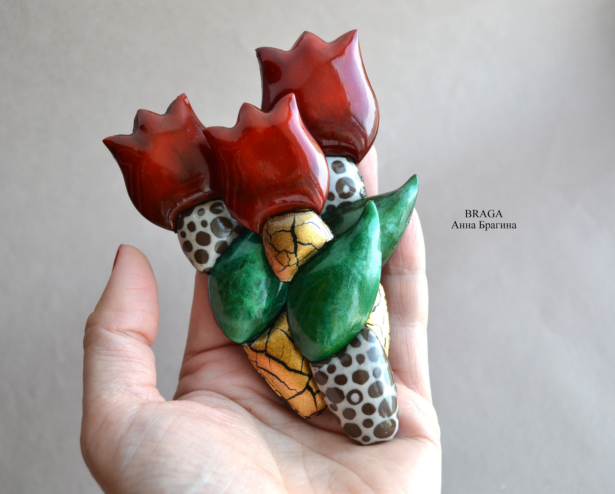 Polymer clay flower brooch tulip jewelry
