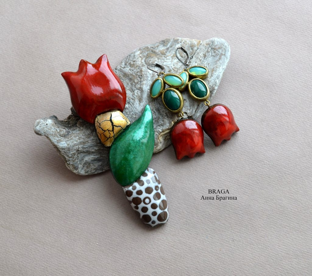 Fimo Flower Brooch Tulip Jewelry 3