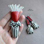 Fimo tulip flower brooch