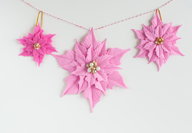 Polymer clay Christmas decorations with poinsettias 4