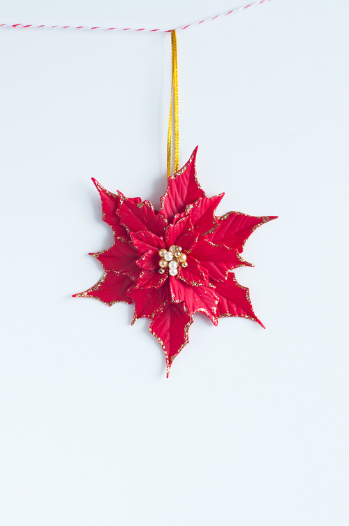 Polymer clay Christmas decorations with poinsettias 6