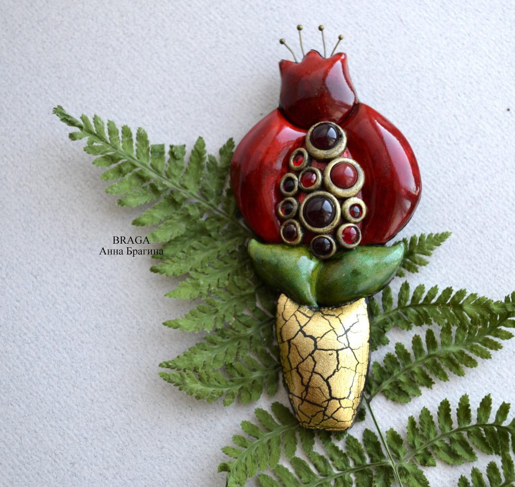 Polymer clay brooches - tulip jewelry