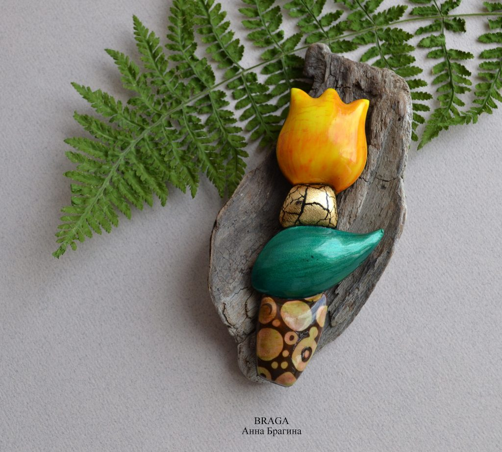Polymer clay brooches - tulip jewelry (2)