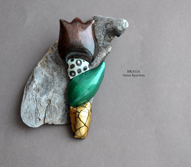 Polymer clay brooches - tulip jewelry (3)