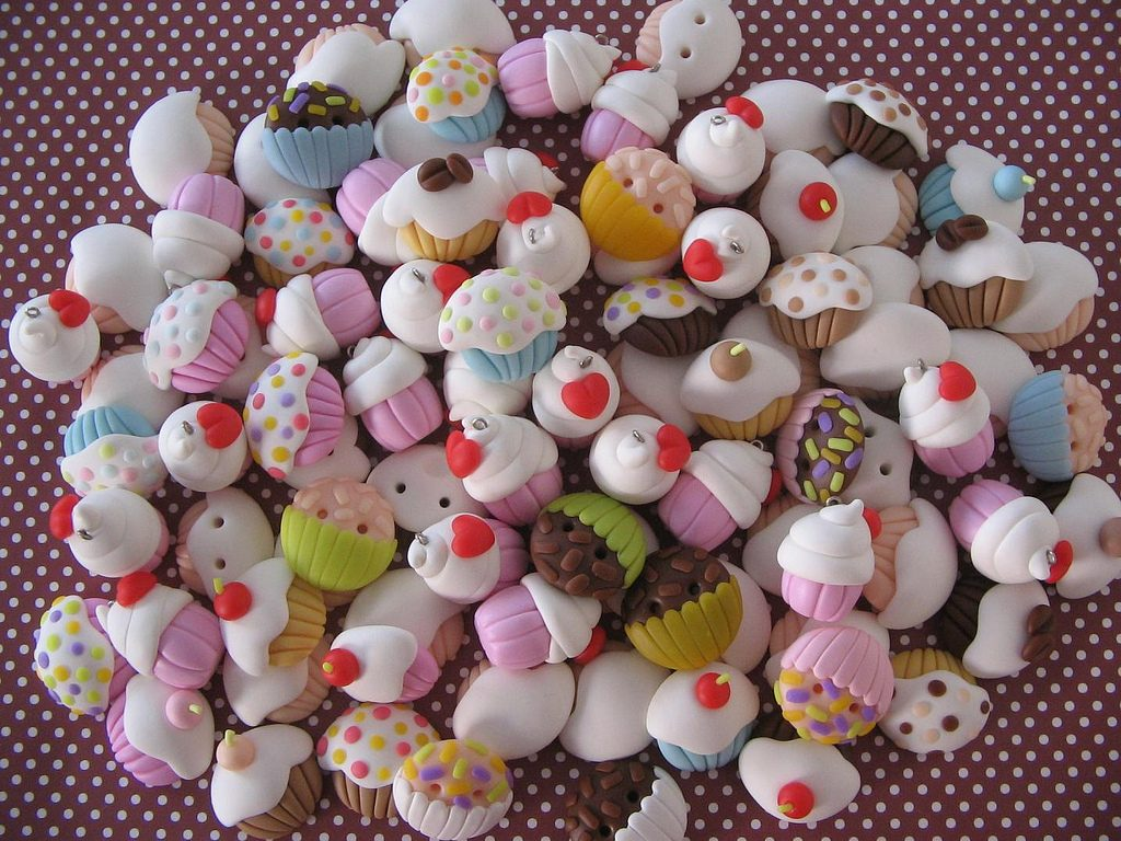 Polymer clay cupcake charms (2)