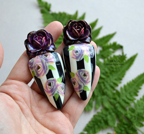 Rose long earrings