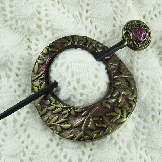 Amethyst and Golden Leaf Shawl Pin