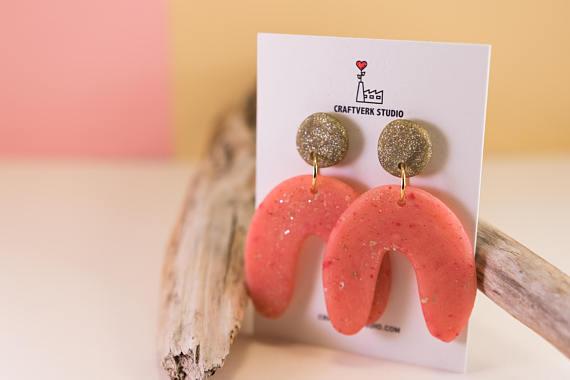 Arc earrings, gold pink statement earrings, large statement jewelry, geometric earrings, polymer clay earrings, lightweight earrings, dangle