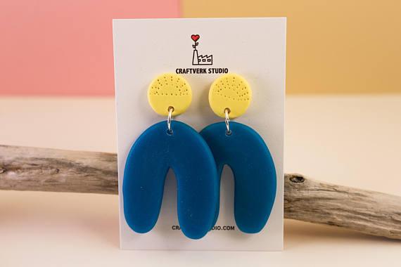 Arc earrings, large statement earrings, oversized statement jewelry, geometric earrings, polymer clay earrings, lightweight earrings, dangle