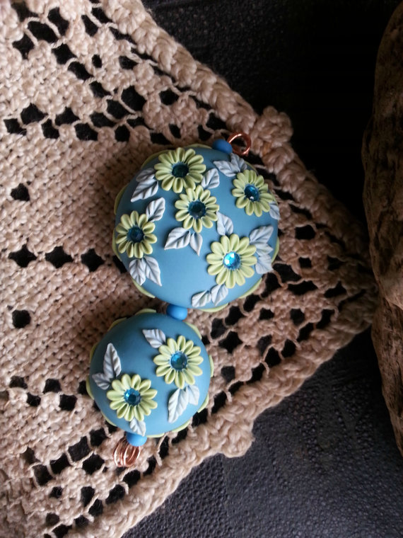 Polymer clay floral embroider beads