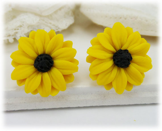 Polymer clay flower earrings stud or clip on