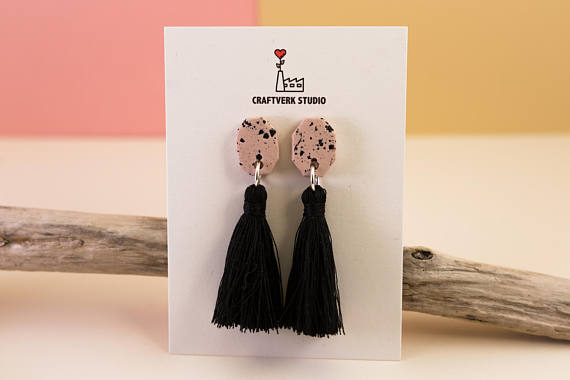 Simple polymer clay tassel earrings