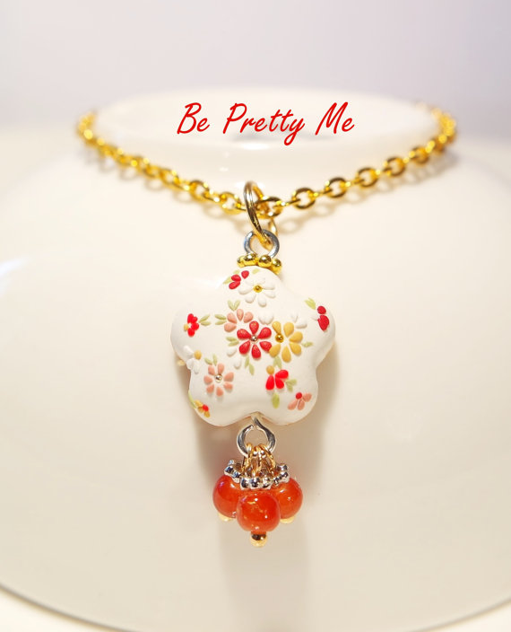 Gracious polymer clay necklace pendant