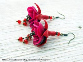 Polymer clay fuchsia flower jewelry