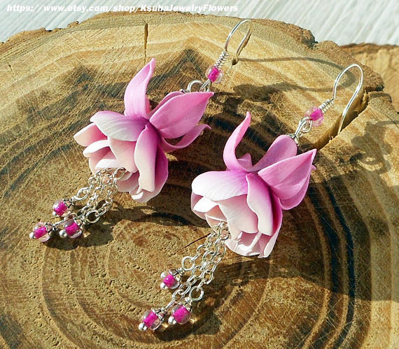 Polymer clay fuchsia flower jewelry