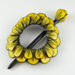 Brilliant Blooms Floral Shawl, Scarf or Hair Pin in Freesia Yellow and Black