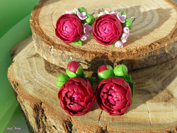 Polymer clay burgundy peonies jewelry