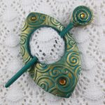 Fiesta Spiral Shawl Pin – Scarf Pin – Hair Pin in Turquoise and Gold