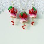 Bride Earrings Fuchsia Red Flowers polymer clay Fashion jewelry Flowers romantic Jewelry prom Earrings wedding Long earrings magenta